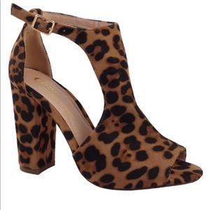 Shoes - Leopard print open toe heels